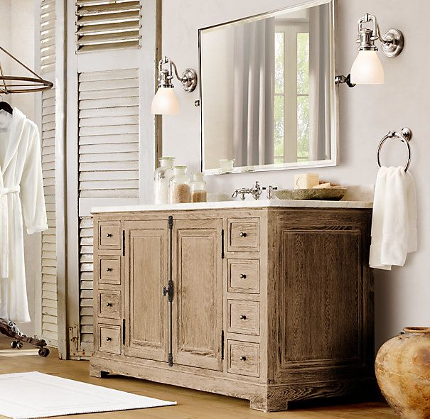 Restoration hardware style bathroom vanities restoration for Restoration hardware bathroom cabinets