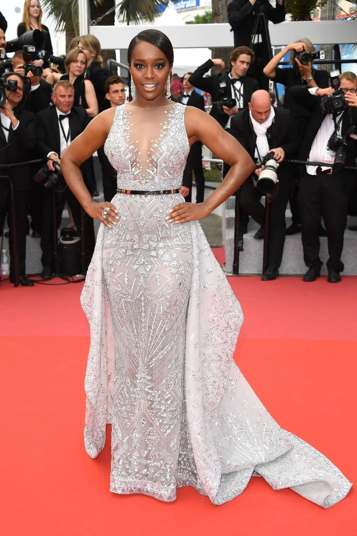 Cannes aja naomi king glistening in zuhair murad couture gown