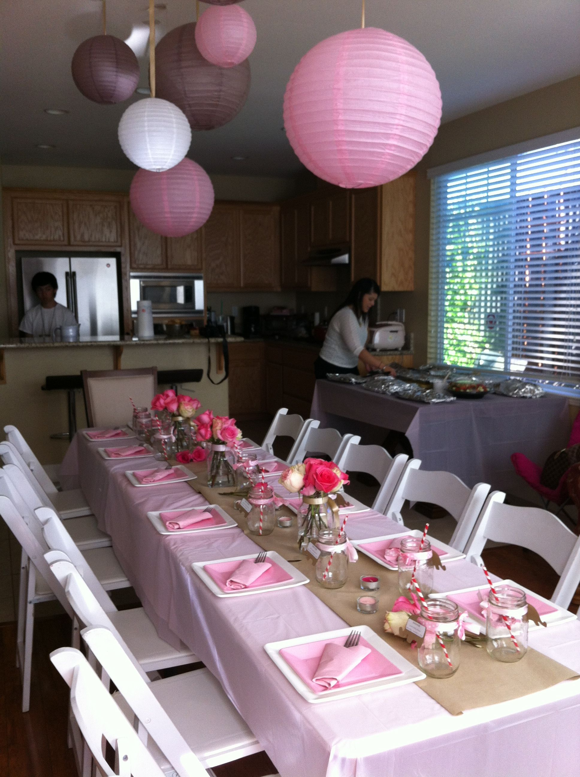 Juna S Baby Shower Table Setting Theme Pink Tan White And Elephants