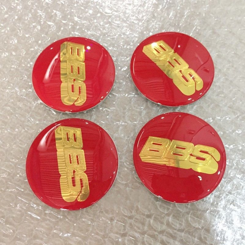 4pcs 70mm Red Gold Wheel Center Caps Decal Stic…