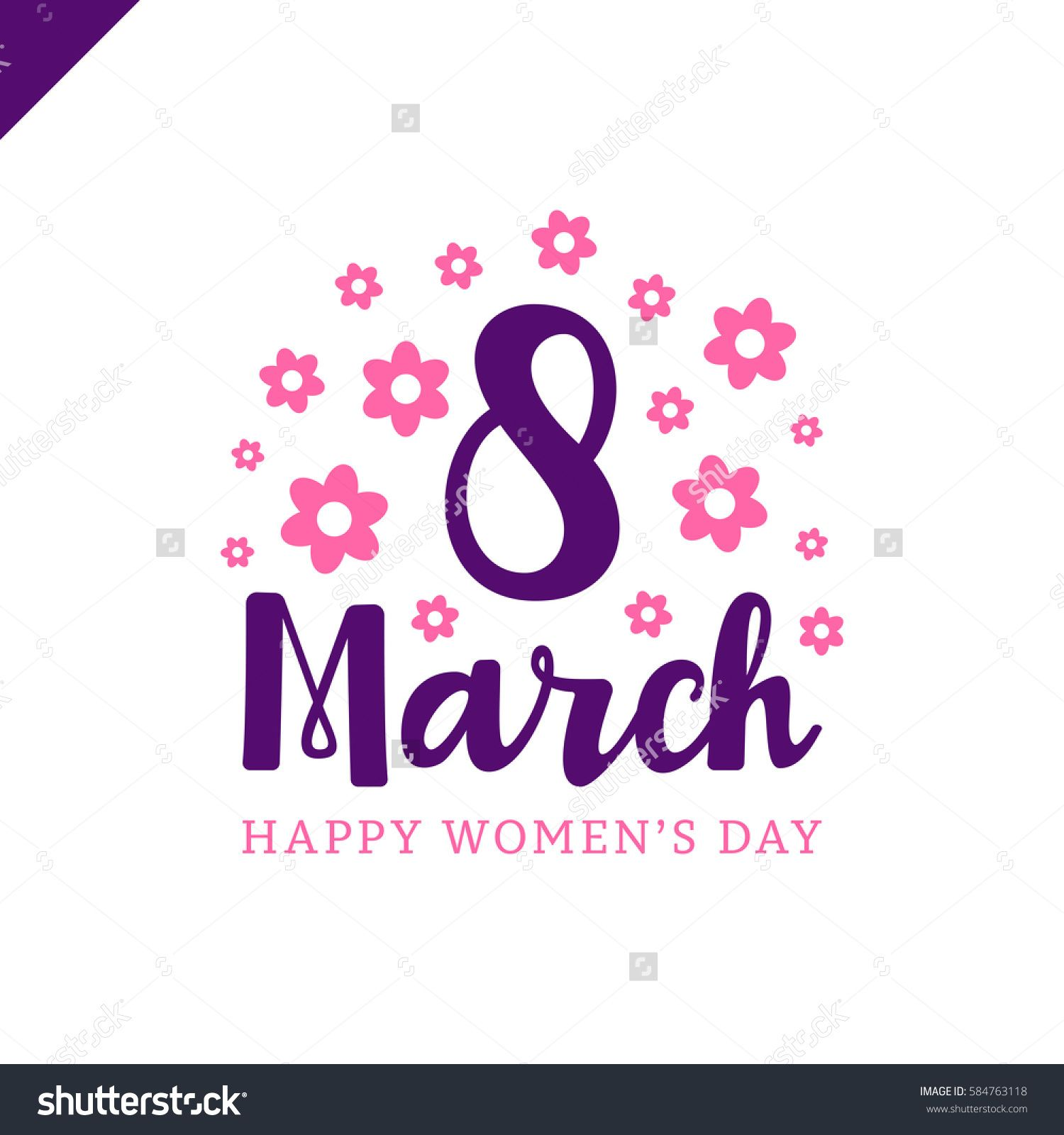 March 8 Happy Womans Day Lettering Greeting Card With Flower Vector