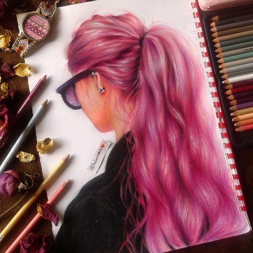 اول تجربة لي في رسم الشعر الملون هالة محمد Instagram Art Colorful Drawings Art