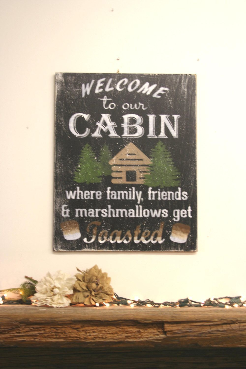 Wall Signs Decor Simple Welcome To Our Cabin Rustic Sign  Cabin Signs Distress Wood And Review