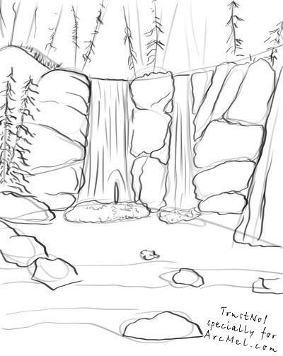 Cómo Dibujar Una Cascada Muy Sencilla En 2019 Bocetos