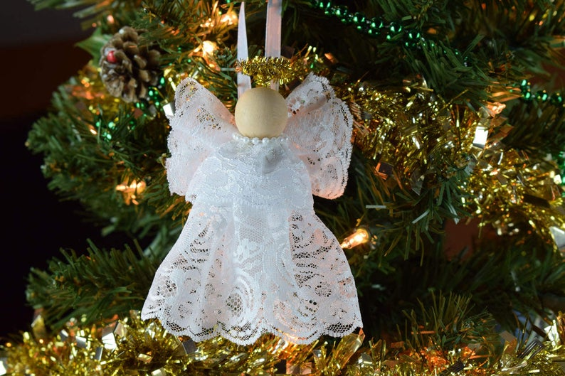 Lacey Angel Christmas Tree Ornament Christmas Decor Holiday Etsy Christmas Angels Christmas Tree Ornaments Christmas Craft Kit