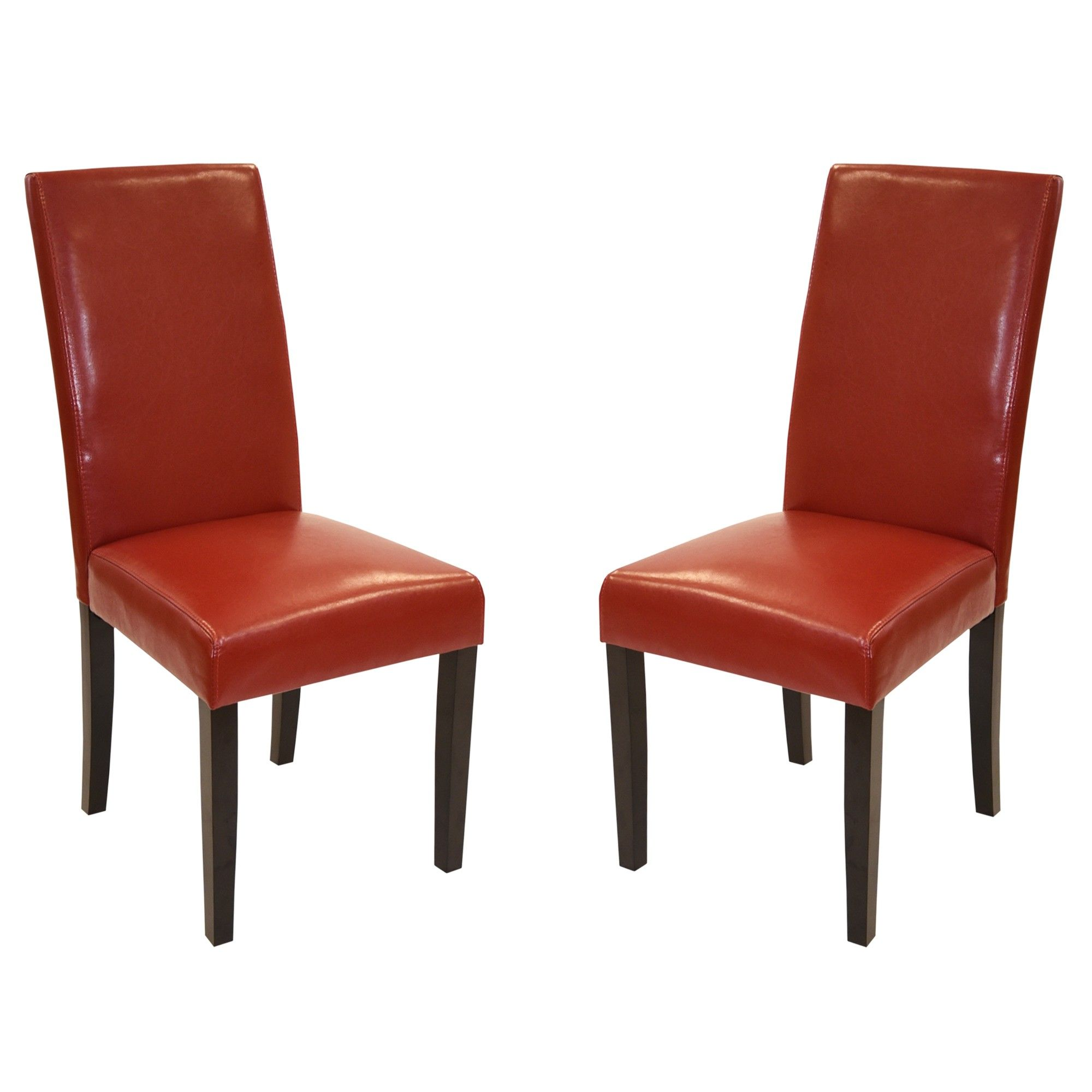 Charming Red Leather Side Chair 2 Pack