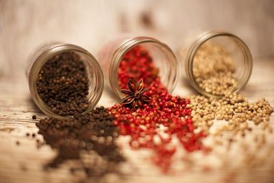 Black, Red, and White Pepper Corns in Rustic Mason Jars Photographic Print at AllPosters.com
