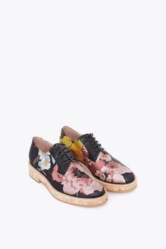 3828a445f6 Dries Van Noten black and multicolor flower print satin cork soles brogues