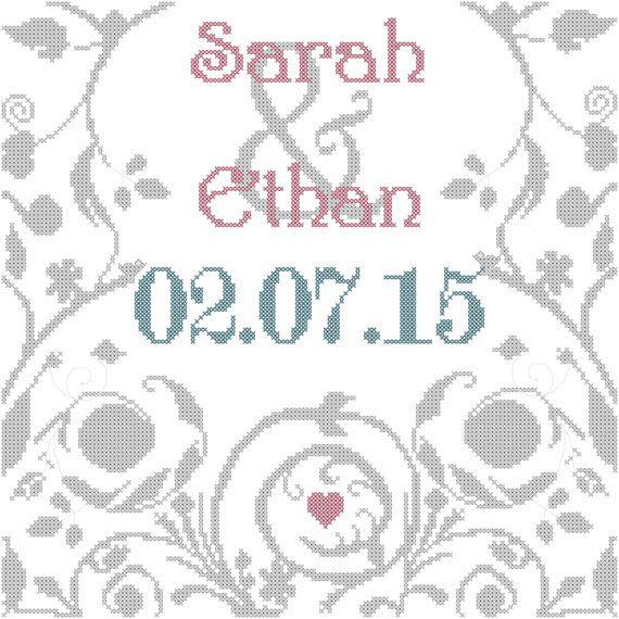 Wedding Cross Stitch Pattern/Modern Wedding Cross Stitch Pattern ...