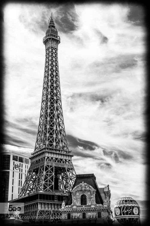 Paris in Vegas- The Eiffel Tower on the Vegas strip in Black and white. Check out my web site : www.ortbaldauf.com And my flickr page at http://ift.tt/1A2Wsy2
