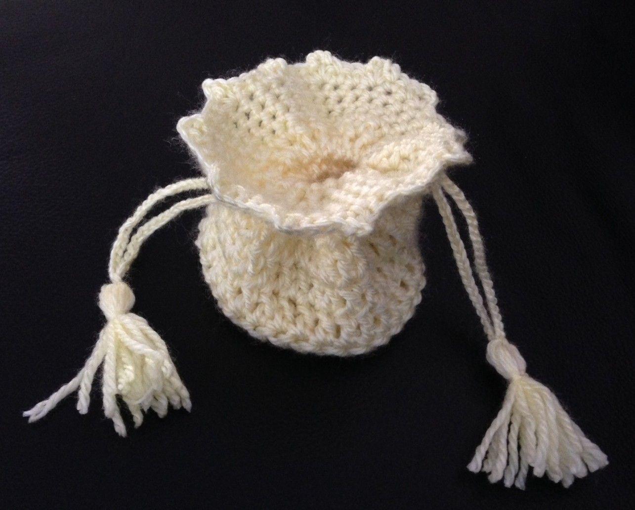 drawstring crochet bag