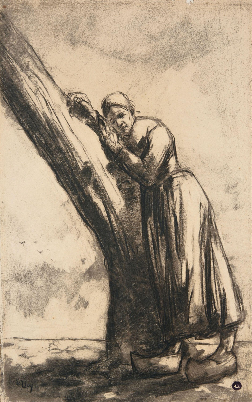 Lesser Ury Bauerin An Einem Baumstamm Lehnend 1912 1913 Auktion