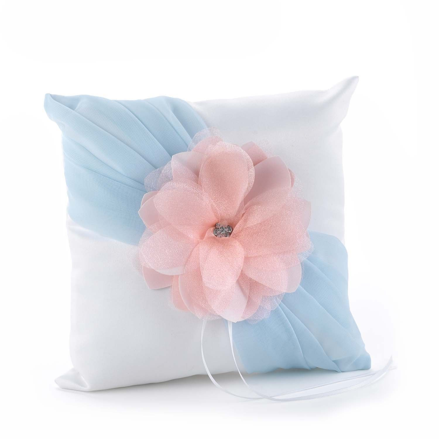 This white satin pillow features aqua chiffon and a coral pink ...