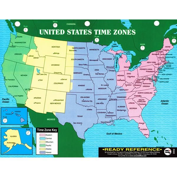 If you board a plane in new york at 3 p.m. U S Map Includes State Names And Large Cities And Is Color Coded To Show The Different Time Zones World Map Includ Time Zone Map Us World Map Learning Cards