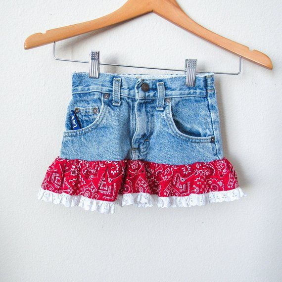 f19fd923b Young Girls Southwestern Blue Denim Skirt 3/4T, Cowboy, Ruffle Skirt, Kids  Vintage Denim, Hippie, Bo