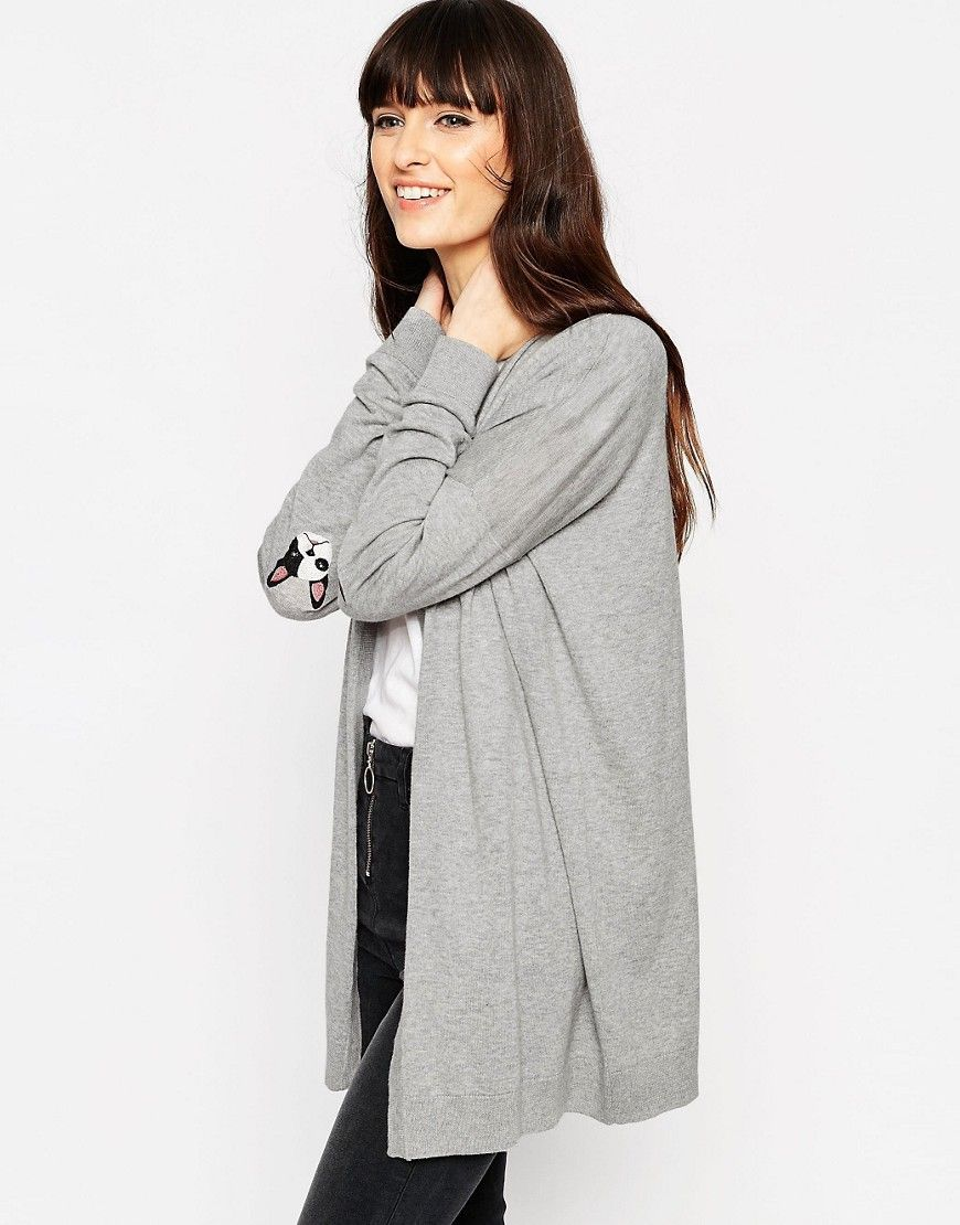 Shop ASOS Swing Cardigan With French Bulldog Elbow Patch at ASOS.
