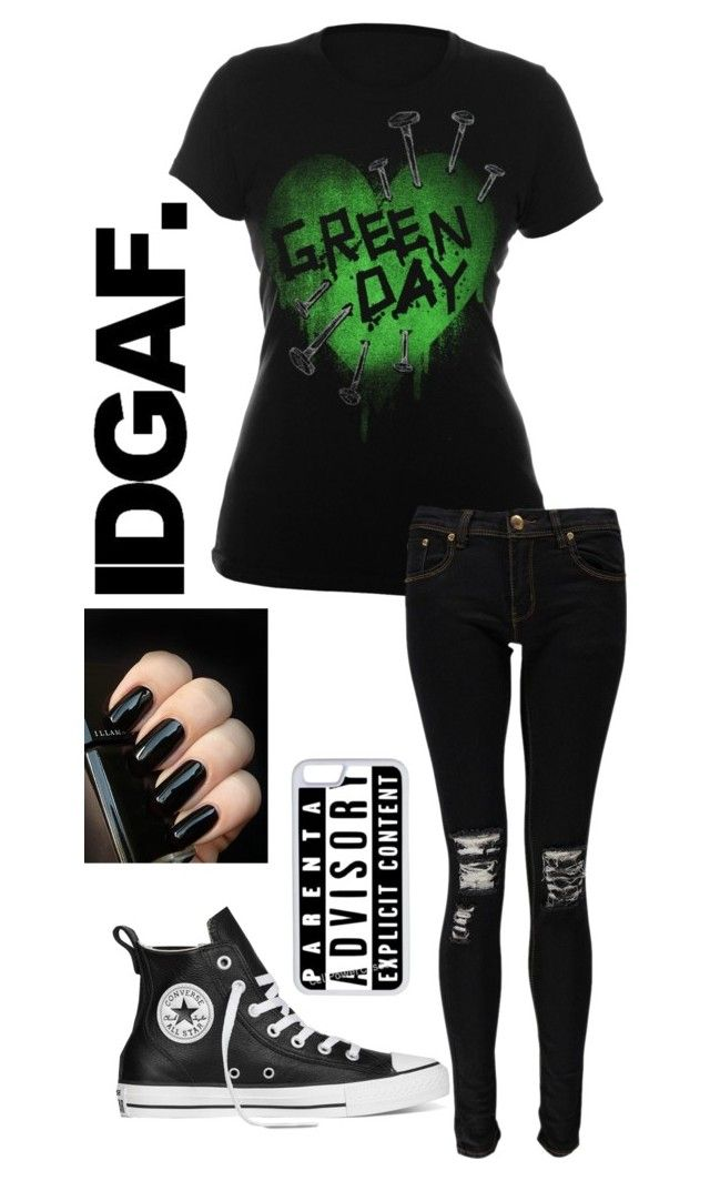 """""""Green Day"""" by iamkirstenoelke ❤ liked on Polyvore featuring Boohoo, Converse and CellPowerCases"""