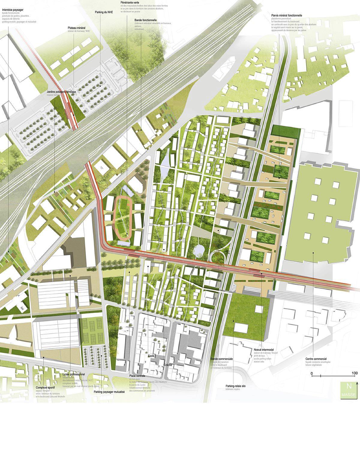 Un parc habité cette équipe propose un plan de masse évolutif et dynamique une promenade verte est créée le long des voies du