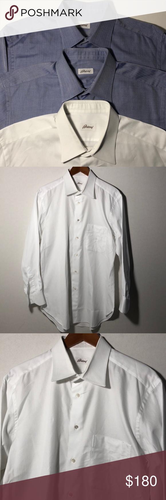 Brioni Dress Shirt Lot Of 3 2 Blue 1 White 1743 All 3 Shirts Had