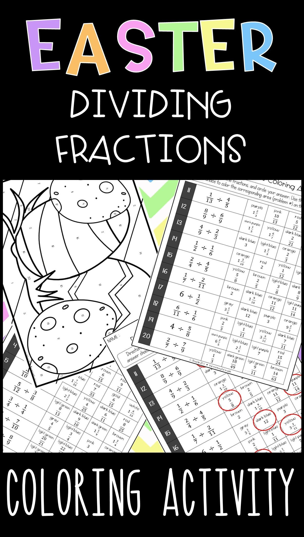Easter Dividing Fractions Coloring Activity Tone In Writing Math Center Activities Teaching [ 2208 x 1248 Pixel ]