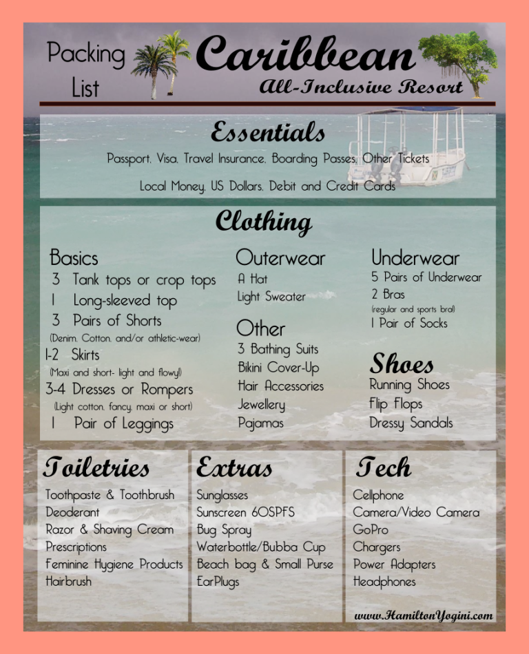packing list for caribbean vacation