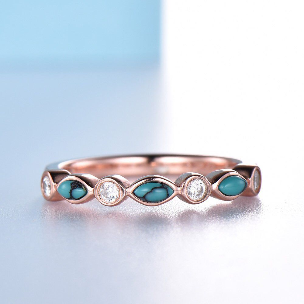 14k gold ring unique turquoise wedding band art deco