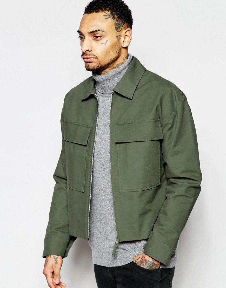 Asos Cropped Military Jacket In Green At Asos Com Cropped Military Jacket Jackets Men Fashion Military Jacket [ 1110 x 870 Pixel ]