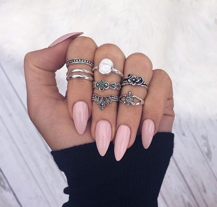 Just Not Pointy Almond Acrylic Nails Pretty Nails Pink Nails