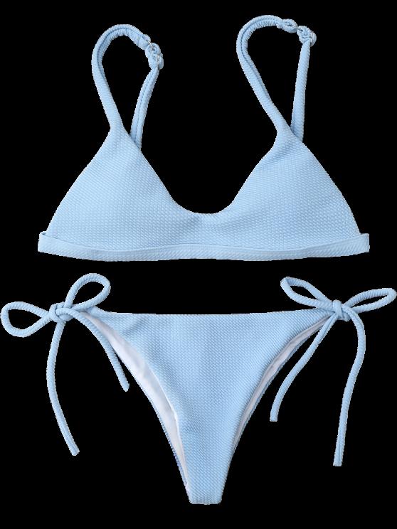 6d2cd5d0442bf Bikini Swimwear · AD : Textured Tie Side String Scoop Bikini Set - LIGHT  BLUE Textured classic bathing suit