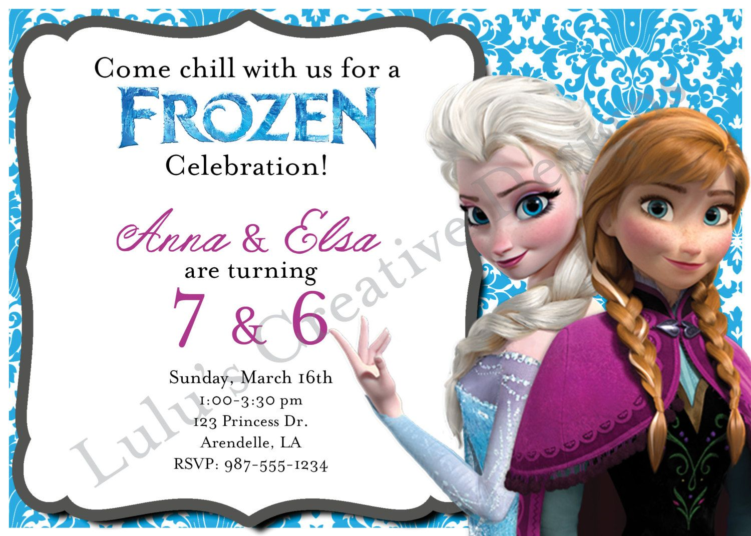 Frozen+Birthday+Invitation++Joint/Double+by+LulusCreativeDesigns,+$ ...