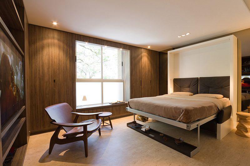 Apartamento pequeno projetado com móveis multifuncionais Camas - departamento de soltero moderno pequeo