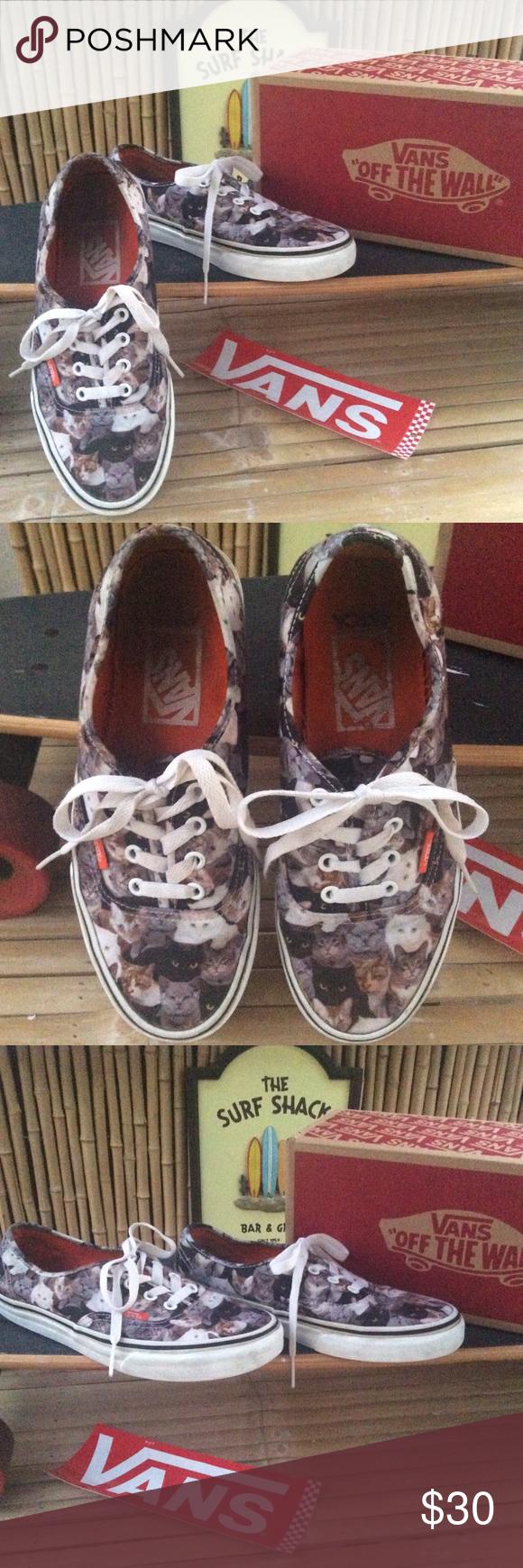 Vans Kitten Kitty Cat Low Top Sneakers Size 7 5 Top Sneakers Vans Sneakers