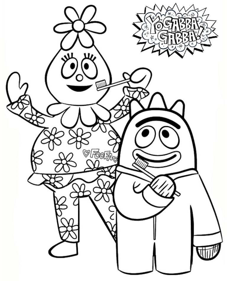 Foofa And Brobee From Yo Gabba Gabba Coloring Pictures Yo Gabba Gabba Dance Coloring Pages Coloring Pages