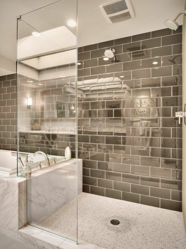 Badideen Dusche Badewanne Mosaikfliesen Boden Wandfliesen
