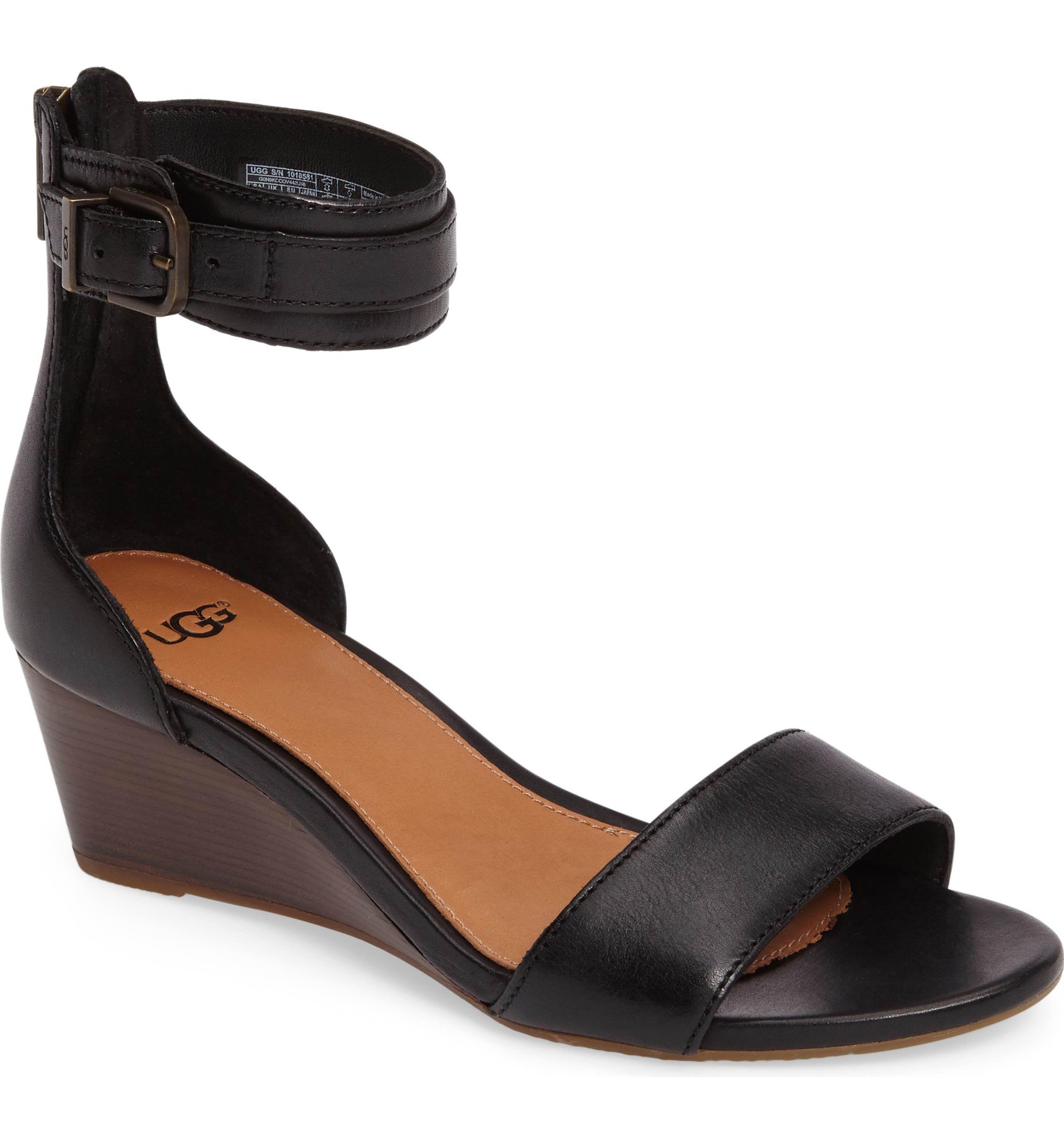 af266ecf224 UGG® 'Char' Ankle Strap Wedge Sandal (Women): Vegetable-tanned ...