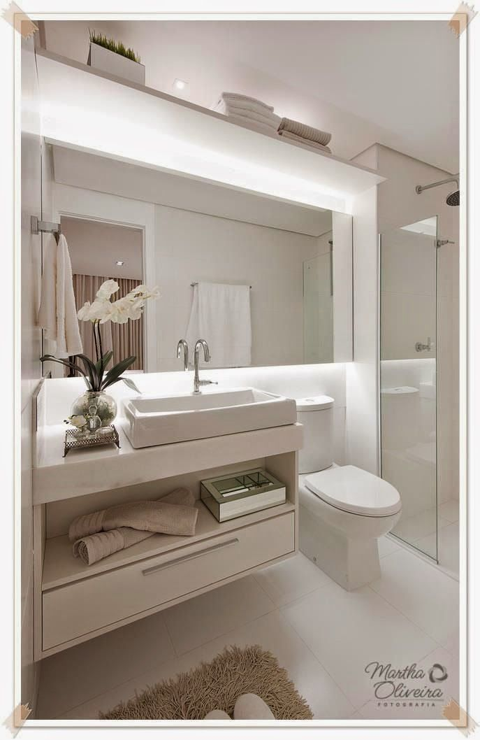 15 banheiros pequenos decorados para casa ou apartamento for Banos modernos para apartamentos