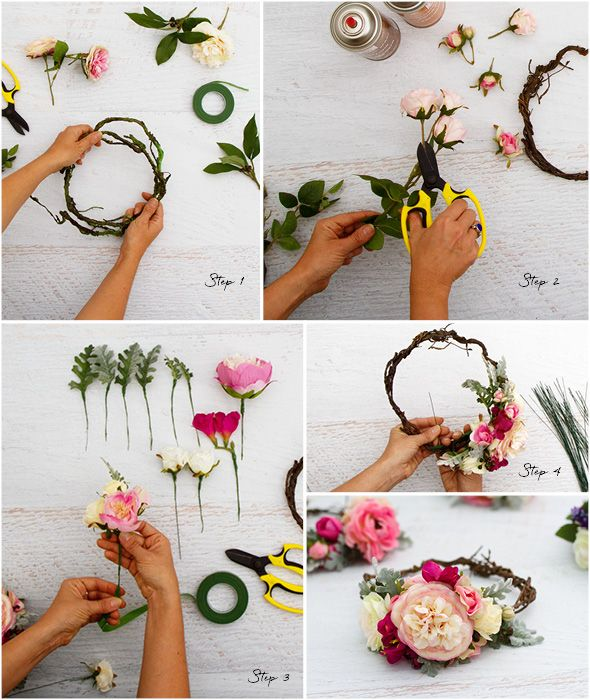 blumenkranz f r die haare selber machen 26 anleitungen mit pinterest wreaths wreath. Black Bedroom Furniture Sets. Home Design Ideas