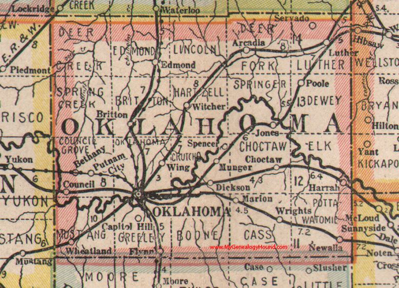 Oklahoma County, Oklahoma 1922 Map, Oklahoma City, Arcadia ... on map okc ok, google maps newkirk ok, counties in oklahoma city ok, downtown oklahoma city ok, city of broken arrow ok,