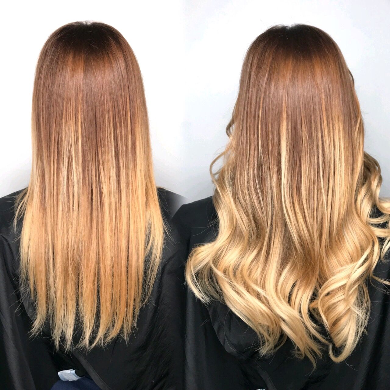 Before After Of Hairtalk Tape In Hair Extensions 14 16 Ombr Done
