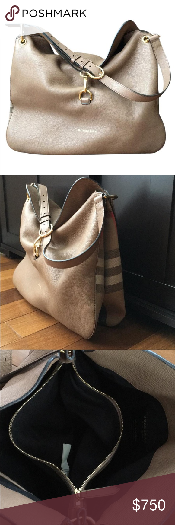 3014a2bd16b8 Burberry Md Cornwall In Derby Leather Hobo Bag Beautiful NEW WITH TAGS