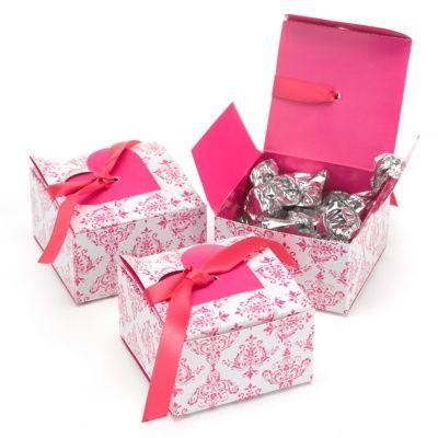 Fuchsia damask and heart favor boxes | Ann's Bridal Bargains