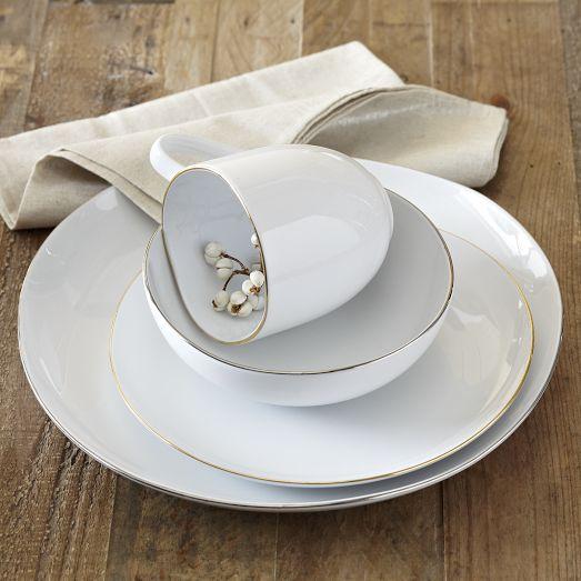 Organic Shaped Porcelain Dinnerware Set Metallic Rimmed Modern