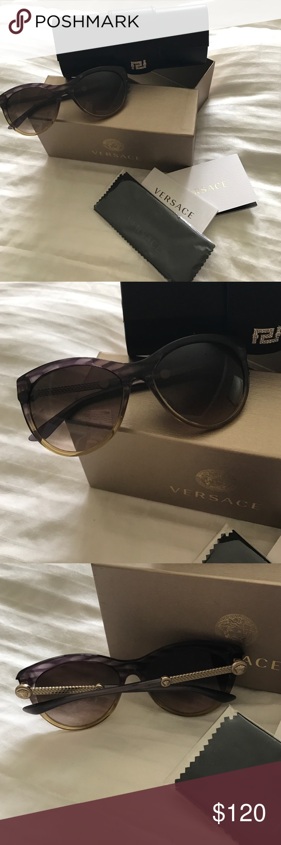 9b26639348 Authentic Versace sunglasses Women s authentic brand new Versace sunglasses.  I bought it at Macy s but don t want it anymore. Very nice sunglasses.