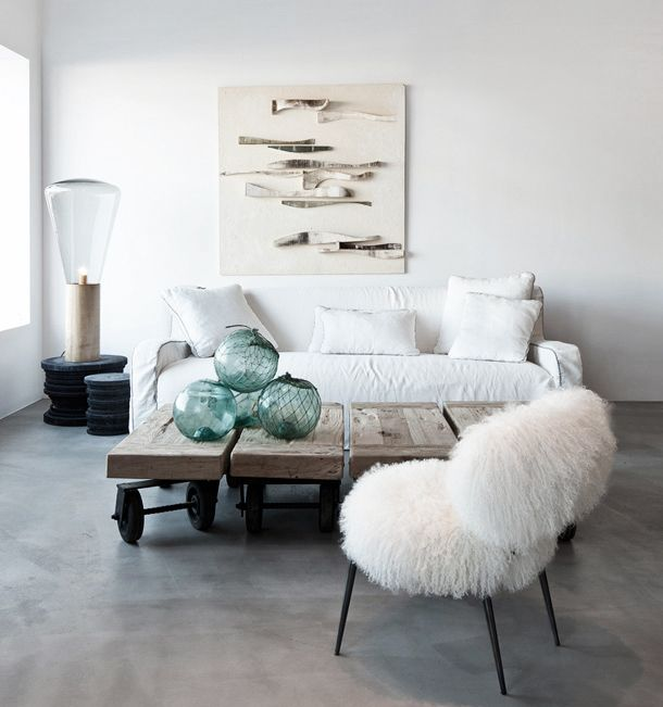 Coastal Decor With Fish Wall Hanging Picture And Fur Chair And White Sofa  And Rustic Coffee Table With Wheels And Unique Floor Lamp , Coastal Decor  Ideas ...