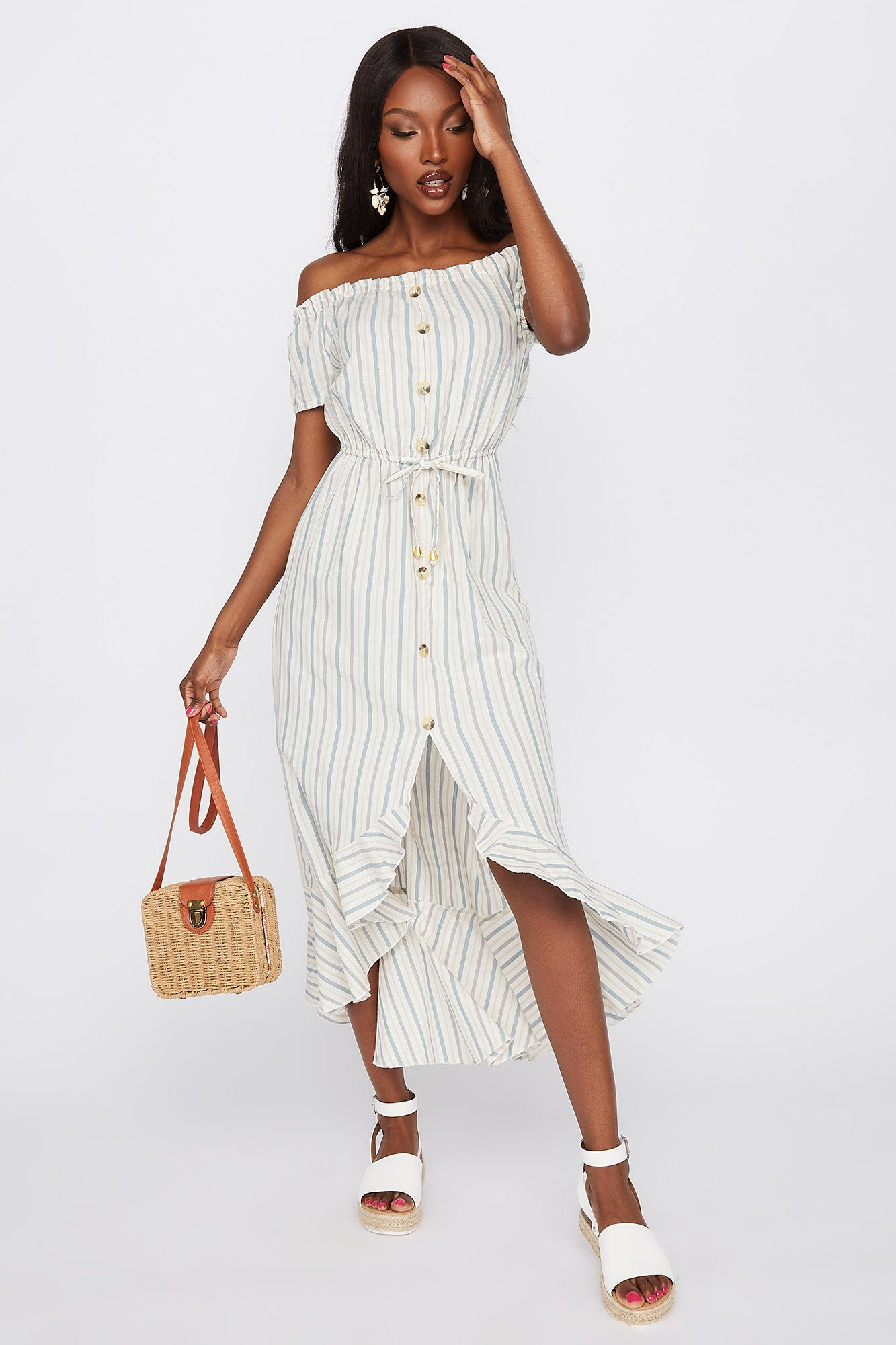 Striped Off The Shoulder Button Front High Low Dress Charlotte Russe High Low Dress Dresses Womens Dresses [ 2000 x 1333 Pixel ]
