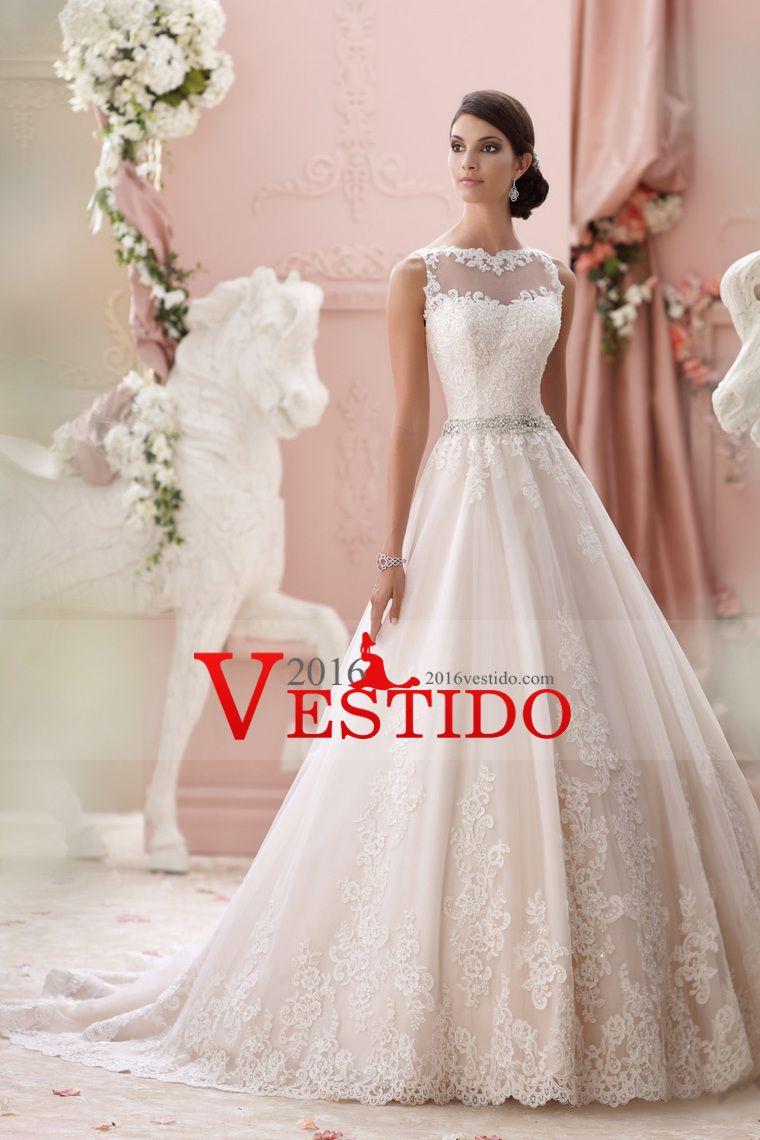 2016 del cuello del barco una línea vestidos de boda de tul con ...