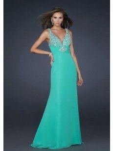 V-hals Beading Floor-length Chiffon Prom Dresses