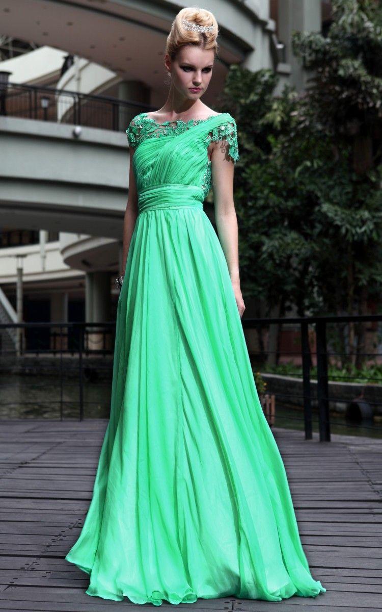 Offtheshoulder chiffon green bridemaid cocktail long evening