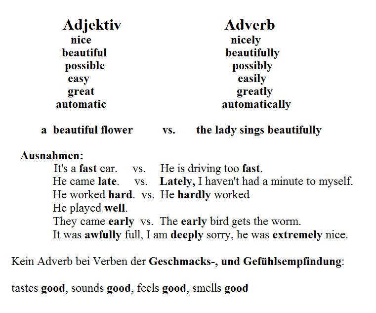 Adjektiv - Adverb Unterschied interaktive Übungen Regeln Englisch ...