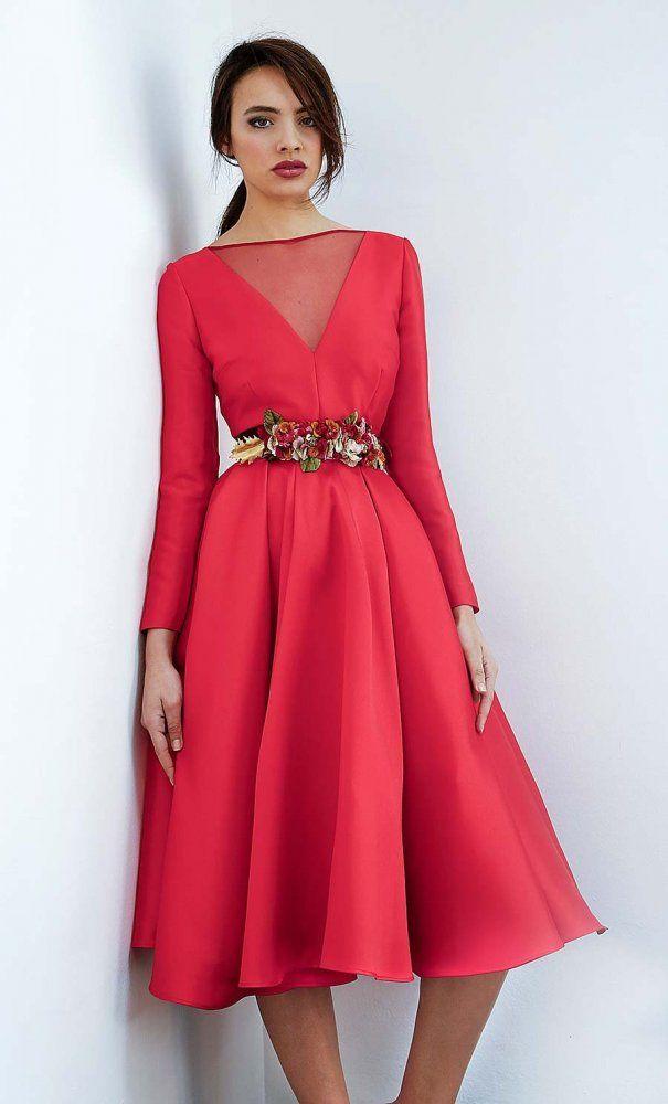 8b761766f Vestido MATILDE CANO Midi Rojo + Cinturón Floral Vestidos Boda 2017
